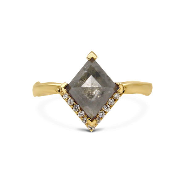 Kite shape salt & pepper diamond 18ct yellow gold ring