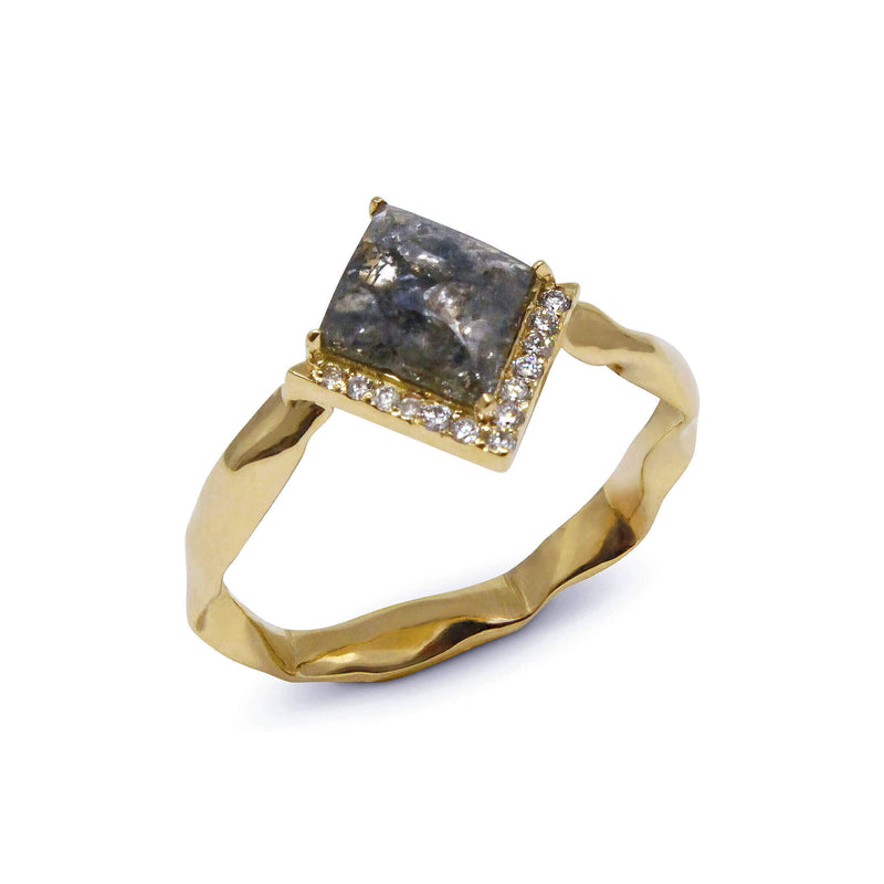 Kite shape grey diamond 18ct yellow gold ring