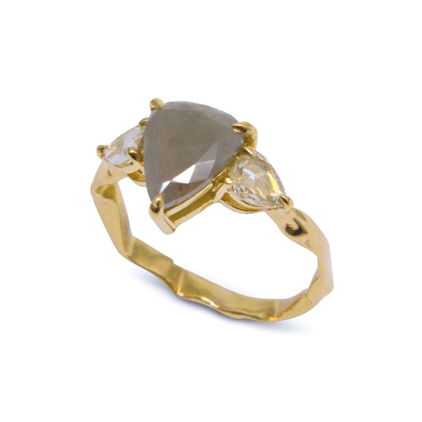 Pear shape grey diamond ring