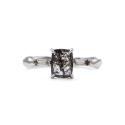 Rectangular rose cut grey salt & pepper ring in 18ct white gold