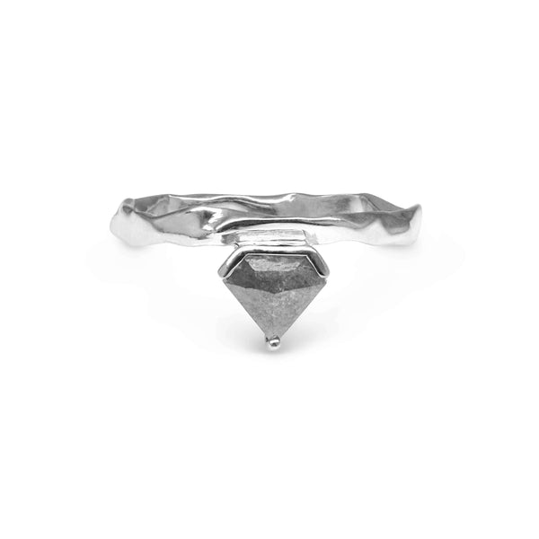 Trillion grey diamond 9ct white gold ring
