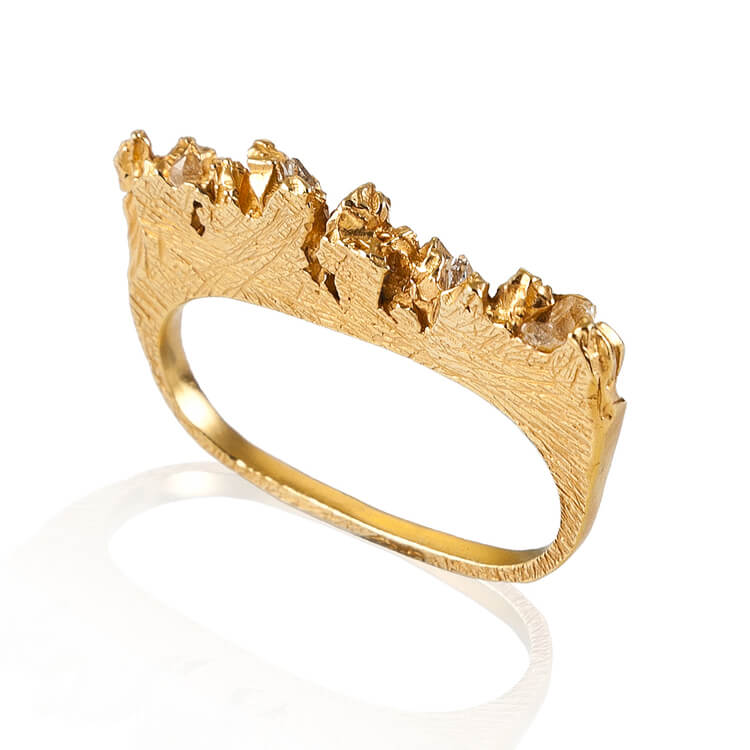 UNDER EARTH 2 FINGERS RING - GOLD