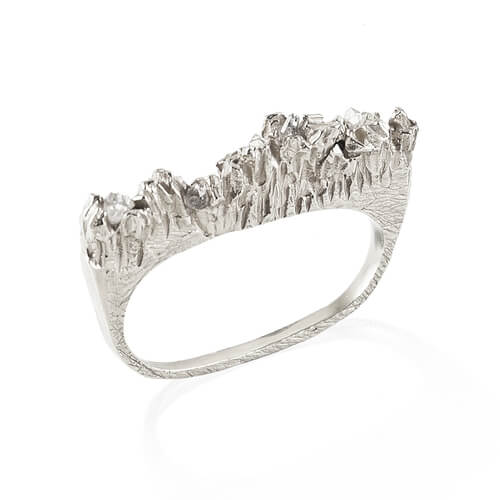 UNDER EARTH 2 FINGERS RING - SILVER