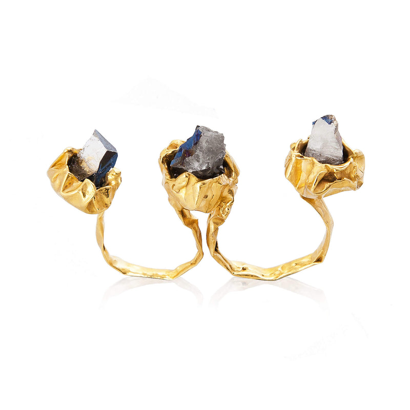C R U S H 2 Fingers Ring - Gold