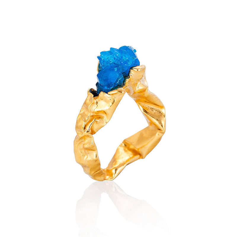 C R U S H Blue Statement Ring  - Gold