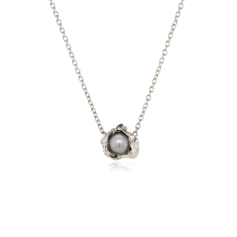 Silver pearl crush silver necklace