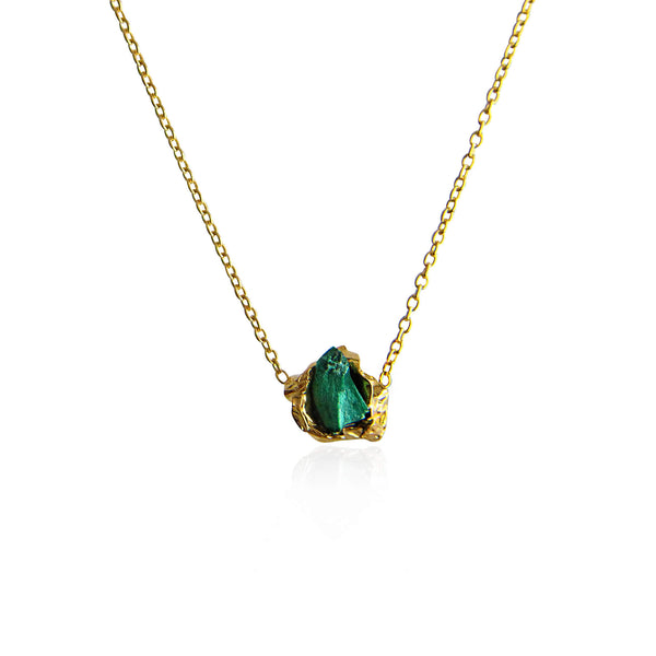 Malachite Crush Gold Necklace