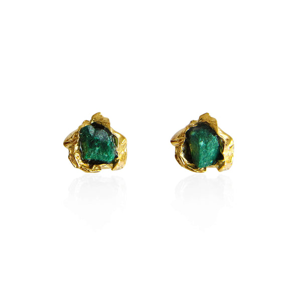 Malachite Crush Gold studs