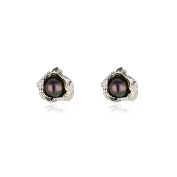 Peacock pearl crush silver studs
