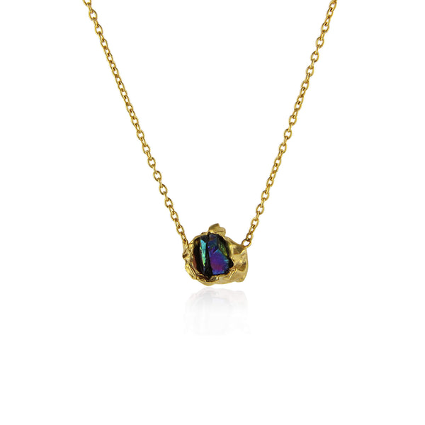 Titanium quartz gold crush necklace