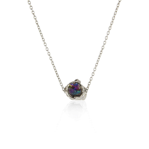 Titanium quartz crush silver necklace