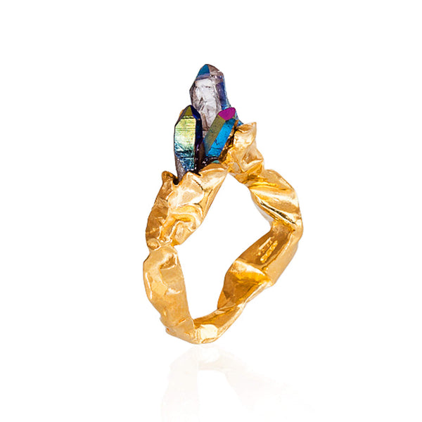 C R U S H Rainbow Statement Ring  - Gold