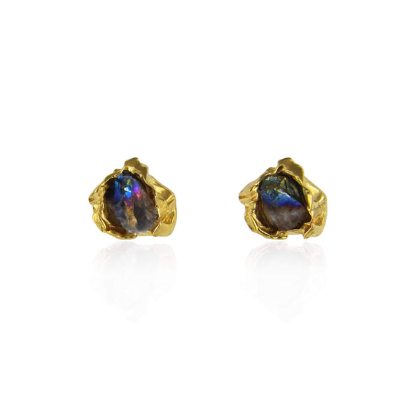 Titanium quartz crush gold studs