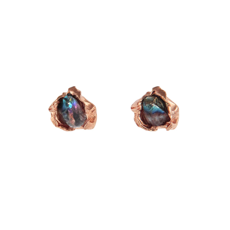 Titanium quartz crush rose gold studs