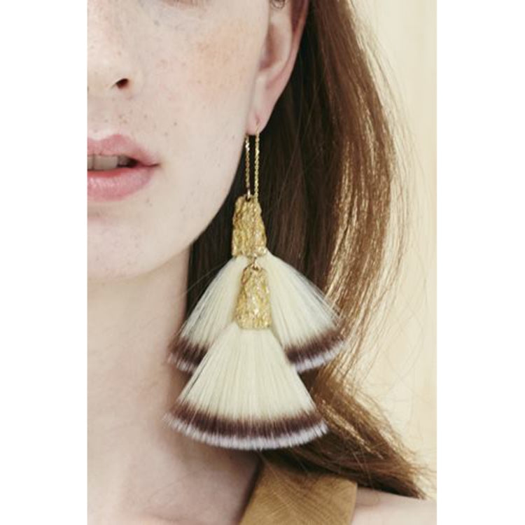 CANVAS dangle earrings fan brush small double