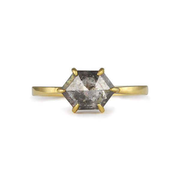 Hexagon grey diamond 18ct gold ring