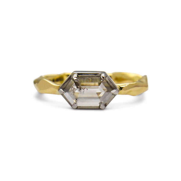 Hexagon diamond 18ct yellow gold and platinum setting ring