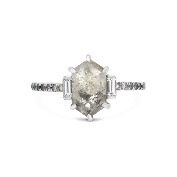Hexagonal salt & pepper diamond 18ct white gold ring