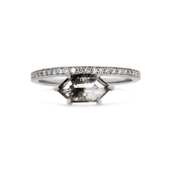 Hexagonal salt & pepper diamond and white diamonds 18ct white gold ring