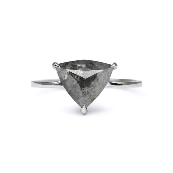 Minimalist trillion cut grey diamond 18ct white gold ring