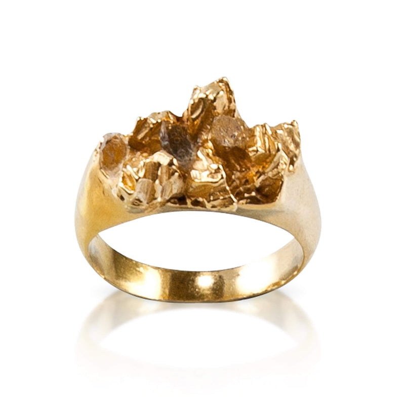 UNDER EARTH Half Texture Ring - Gold