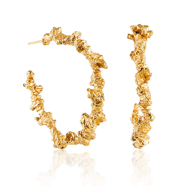 UNDER EARTH Large Irregular Hoop Earrings - Gold