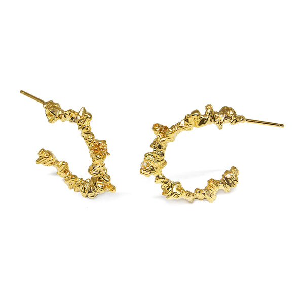 UNDER EARTH Small Irregular Hoops-Gold
