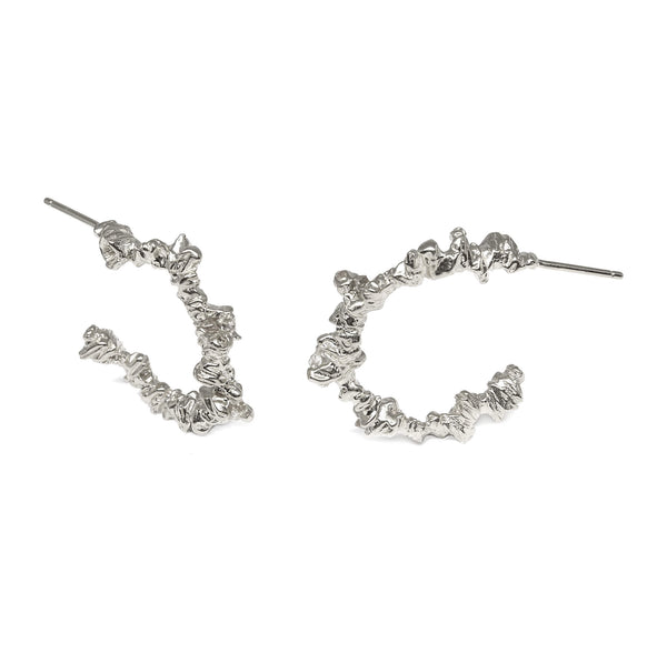 UNDER EARTH Small Irregular Hoops-Silver