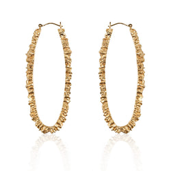 UNDER EARTH Texture Hoop Earrings - Gold