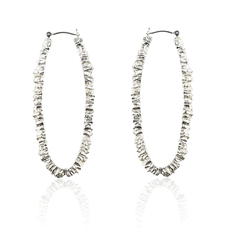 UNDER EARTH Texture Hoop Earrings - Silver