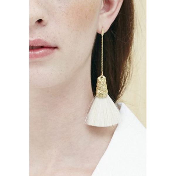 CANVAS dangle earrings fan brush small single-white