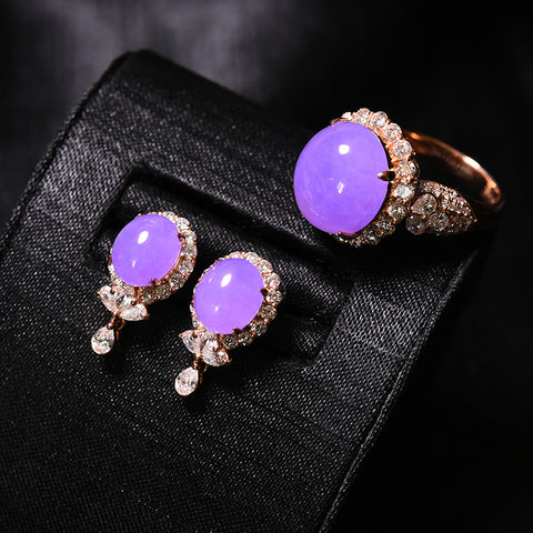 Natural jade earrings lavender jadeite ring