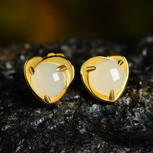 Natural Jade Earrings Nephrite Silver Heart-shaped Earrings WE32