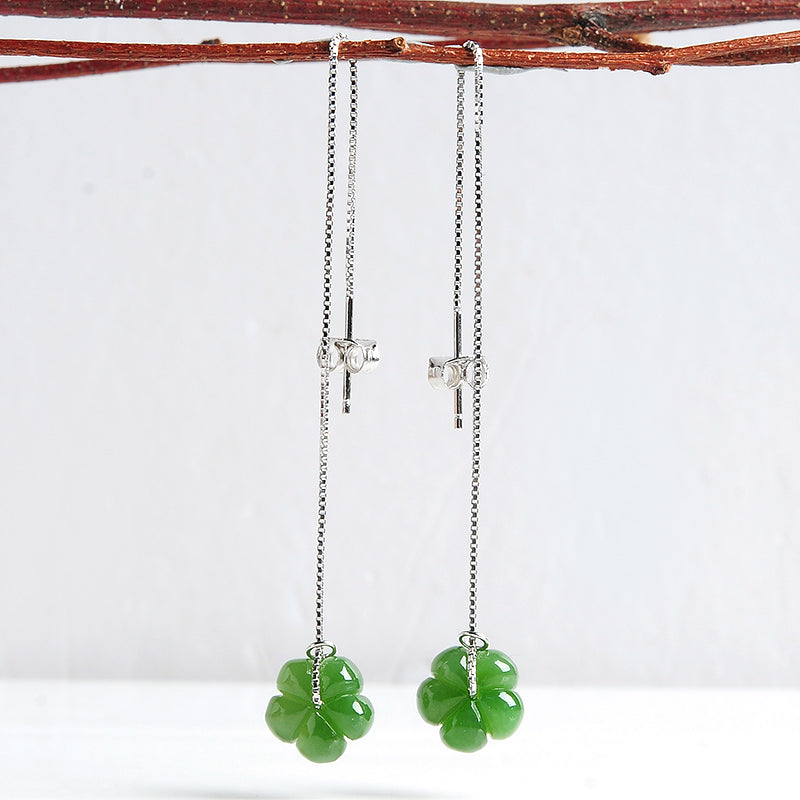 Natural jade earrings silver flower nephrite earrings wholesale