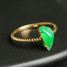 Natural jade jadeite gold ring