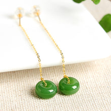 Natural Jade Earrings Nephrite Gold Earrings