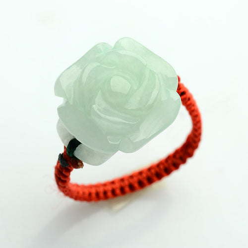 Natural jade jadeite ring rose flower wholesale