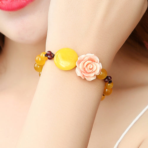 Yellow Agate Chalcedony Resin Bracelet