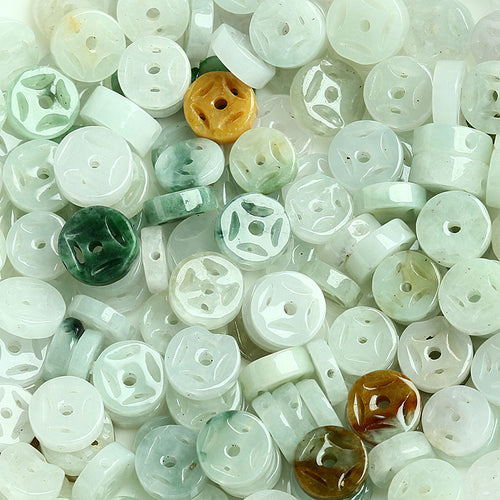 Natural jade jadeite coin beads mixed colors wholesale