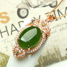 Natural jade pendant nephrite silver pendant necklace