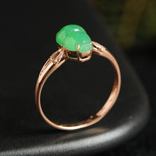 Natural jade ring gold jadeite gourd ring
