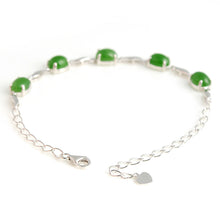 Natural jade green nephrite silver bracelet wholesale