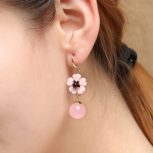 Rose Quartz Shell 14k Gold Coating Earrings
