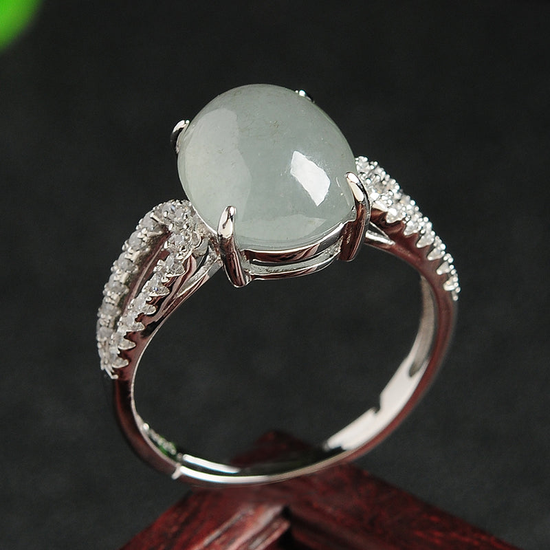 Natural jade jadeite silver ring wholesale