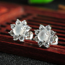 Natural jade earrings jadeite silver flower earrings