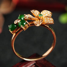 Natural jade ring gold jadeite flower ring