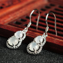 Natural jade earrings jadeite silver gourd earrings