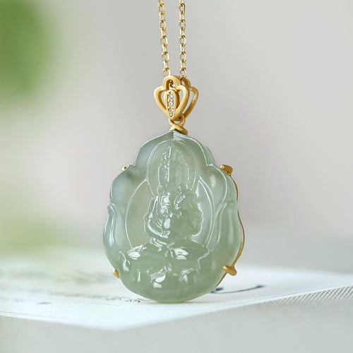 Natural Jade Pendant Nephrite Silver Guanyin Pendant