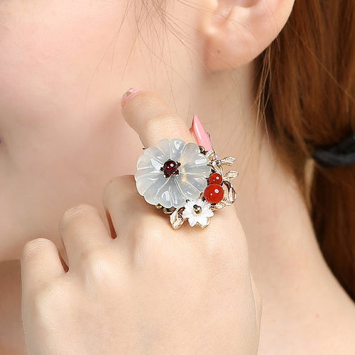 Xiu Jade Red Agate Garnet Shell Ring