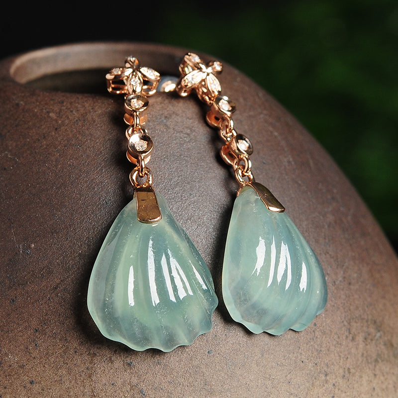Natural jade earrings jadeite gold earrings